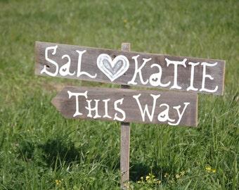 Wedding Signs Romantic Outdoor Weddings Hand Painted Reclaimed Wood. Rustic Weddings. Vintage Weddings. Road Signs. Fun Carnival Signs