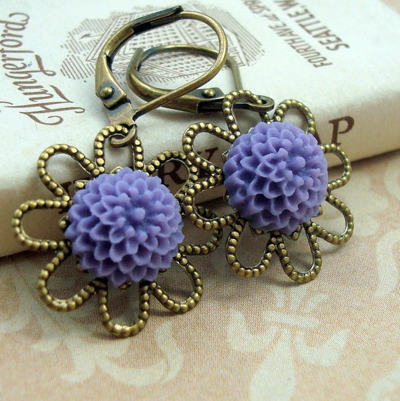 Sale Resin Flower Earrings, Purple Earrings, Neo Victorian Jewelry, Brass Jewelry