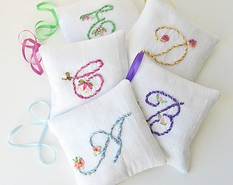 Personalized lavender sachet, made to order sachets, scented silk pillow, silk ribbon embroidery, hand embroidered initial