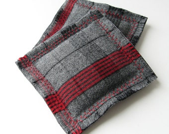 Wool plaid balsam sachets, set of 2 grey & red plaid drawer fresheners, gift for guys, gender neutral stocking stuffers