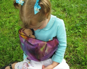 Children's Toy Pouch - little doll sling - fun tie dye cotton matches our Desert Sunset sling and wrap