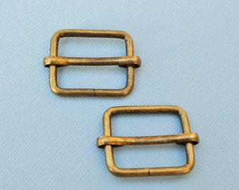 FREE SHIPPING--20 of 1  inch Anti Brass Rectangle Strap Sliders