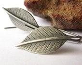 Long Silver Leaf Earrings, Sterling Silver Earrings, Leaf Jewelry, Metalsmith Argentium Earrings, Artisan Silver Jewelry, Nature Jewelry