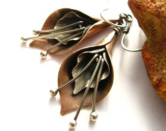 Calla Lily Earrings - Mixed Metal Flower Jewelry - Sterling Silver And Copper Earrings - Artisan Metalsmith Jewelry - Copper Jewelry