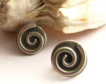 Sterling Silver Earrings, Small Spiral Earrings, Post Earrings, Contemporary Earrings, Modern Metalwork Earrings, Silver Stud Earrings