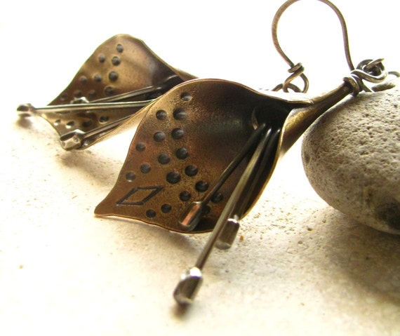 Mixed Metal Earrings, Lily Earrings, Wearable Art Jewelry, Metal Flower Earrings, Bronze And Argentium Silver Earrings, Metalsmith Jewelry