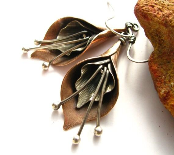 Calla Lily Earrings Mixed Metal Earrings Flower Jewelry