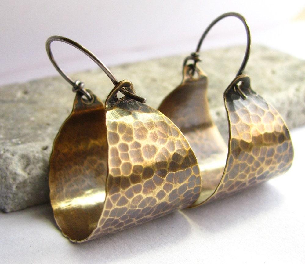 hammered bronze hoops mixed metal basket hoop earrings