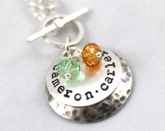 Mother's Day, Personalized Necklace, Custom Hand Stamped, Personalized Jewelry with 2 Children's Names, Birthstone Necklace, Toggle Necklace