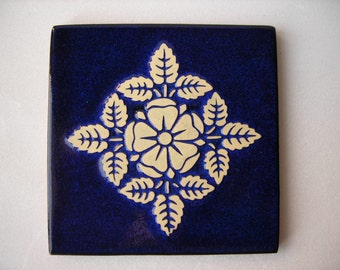 Handmade Tile with Stylized Flower Design