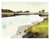 Maine Salt Marsh - Watercolor Print