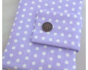 Polka dot lavender travel passport wallet/ holder with coin compartment