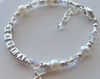 Personalized Sterling Silver Feshwater Pearls and Swarovski Crystal, Name Children  Bracelet, Birthstone, Baptism, First Communion