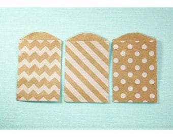 White on Kraft Paper Bag Trio - Pack of 15 Little Bitty bags