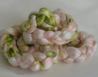 Silk Sliver Mulberry Roving Top Fiber PEONY Luxurious Fine Quality Hand Painted for Handspinning 2 ounces