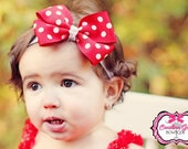 Red with White Polka Dots Bow Band - Bow on an Elastic Headband Baby Infant Toddler - Girls Hair Bows