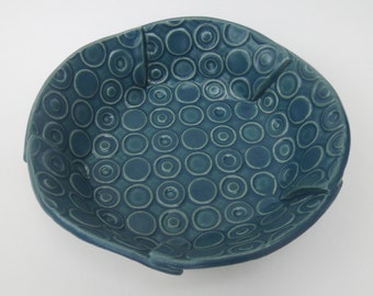 Small Teal Blue Green Deeply Textured Circle Handmade Ceramic Pottery Serving Bowl - Mod Print