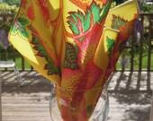 Set of 4 Organic Cotton Napkins, Amy Butler, Table Linens, Yellow Print