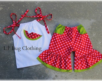 Custom Boutique Clothing Watermelon Hot Pink and Red Polka Dot Short and Top  3m 6m 9m 12 18 24 2t 3t 4t 5t 6 7 8 9/10 girl.