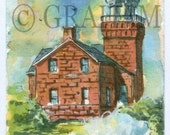 Big Bay Point Lighthouse, Aceo Art Card, Original, Watercolor Painting, ACEO, This is an Original painting and Not a Print