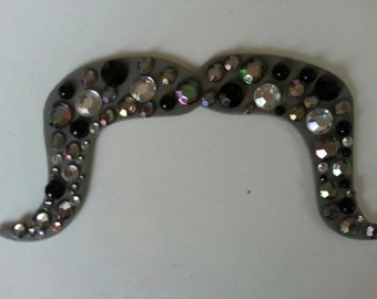 Bedazzled Mustache on a Stick Photo Booth Props, Jeweled Mustache on Stick, Bedazzled Mustache, Cowboy Mustache
