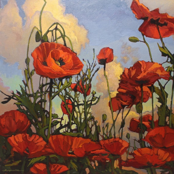 Impressionist Original Oil Painting POPPIES unframed 24x24 CONTEMPORARY Jan Schmuckal