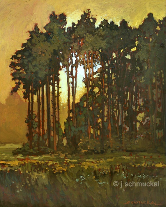 Mission Arts and Crafts CRAFTSMAN Pine Sunset - Giclee Fine Art PRINT of Original Painting matted 11x14 by Jan Schmuckal