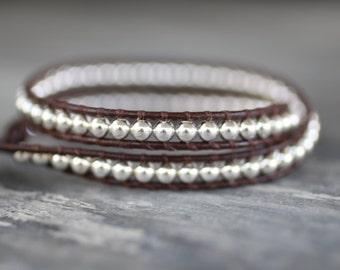 Sterling Silver Double Leather Wrap Bracelet