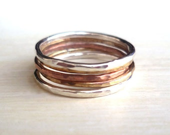 Stacked Rings - Sterling Silver - Brass - Copper - Hammered - Mixed Metal - Textured - Stackable Rings - Unisex - Hipster Jewelry - Custom