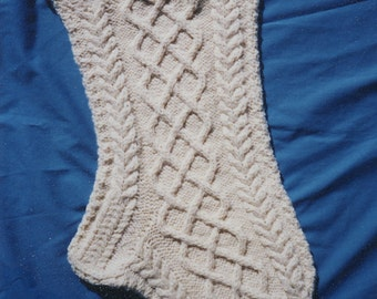 Aran Christmas Stocking Knitting Pattern - Cuileann (Holly) (PDF download)