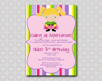 Supergirl Birthday Invitation - Super Hero Invite - superhero super girl party Invitation - printable party - Digital