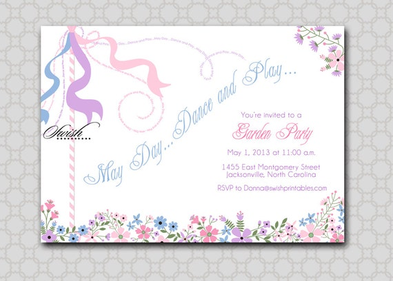 Maypole Garden Printable Invitation May Day By Swishprintables