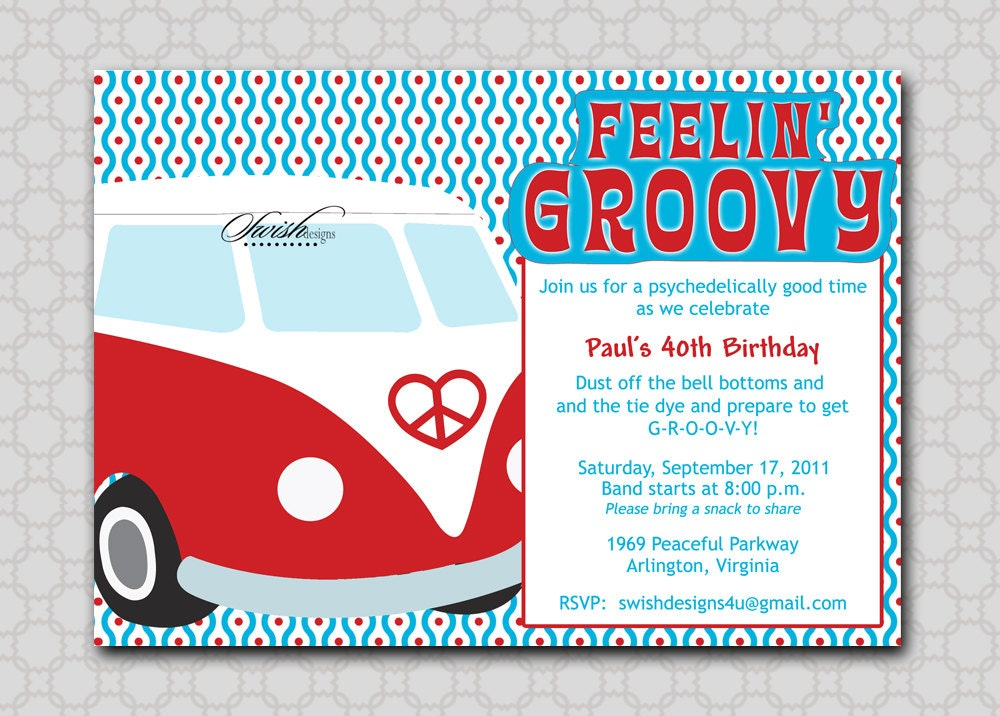 Groovy hippy themed vw bus bug 60s 70s inspired by for 70 s wedding invitations