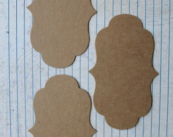 3 Bare chipboard journaling spot Fancy Bracket Rectangle Diecuts 4 3/8 x 2 5/8 inches