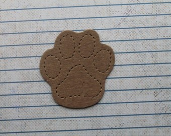 5 Bare Chipboard Dog Animal Pawprint Diecuts 1 7/8 inches wide