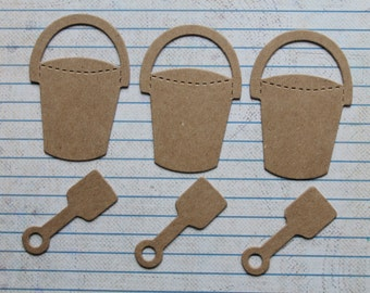 3 sets Bare chipboard mini pail and shovel Diecuts 6 pcs