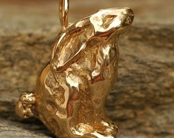 Artisan Bunny Rabbit Charm in Gold Bronze