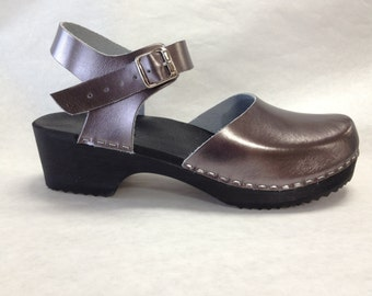 Pewter Dalanna Low Heel with buckle ankle strap