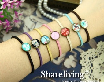 7pcs Mixed Color Bangle Bracelet With 12mm Round Bronze Cameo Setting  -- RI855R