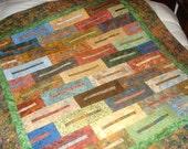 Batik Beauty Bed Throw Lap Quilt-66 x 70
