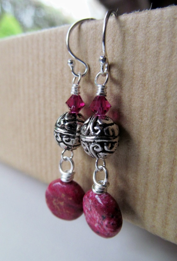 Pink Crazy Lace and Swarovski Crystal Beaded Sterling Silver Earrings