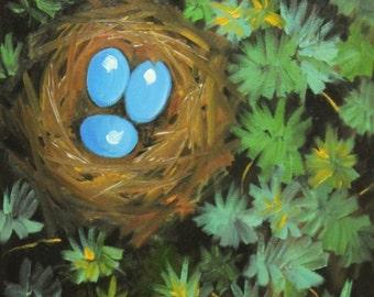 Nest painting 256 16x20 inch original bird nest portrait oil painting by Roz