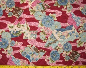 Books and Chrysanthemums Design Pre Quilted Fabric Japanese Asian Design Half Meter Cut