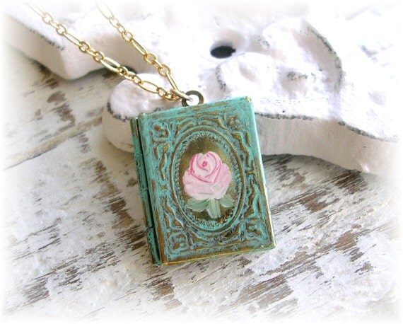 Vintage Book Locket Patina Painted Pink Rose Gold Chain Shabby Chic Floral Necklace