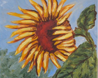 Solo Sunflower Large print of my Original painting Matted and ready to frame - on SALE now