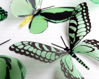 36 x Special Mint Green 3D Butterflies great for Weddings, Crafts