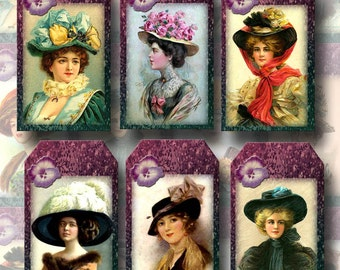 Victorian Women with Hats -Vintage Art Hang/Gift TAgs- Printable Collage Sheet Download JPG Digital File