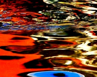 Abstract Photography, Colorful Photo, Orange, Red, Blue, Ripples, Still Life, Nature, Reflection, Zen, Minimalist-8x10 Inch Print-Dreampool