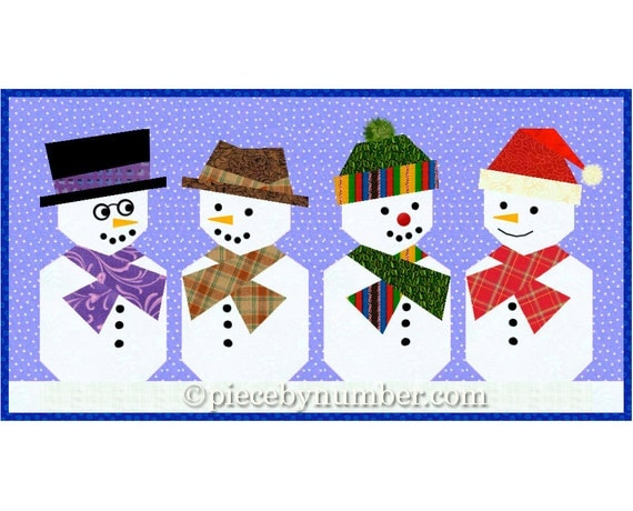 Paper Pieced Snowman Quilt Block Pattern Foundation Piecing