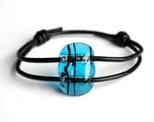 SALE - Adjustable black and transparent turquoise fused glass bracelet with black leather